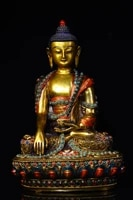 8tibet temple collection old bronze filigree mosaic gem dzi bead medicine buddha shakyamuni buddha amitabha enshrine the buddha
