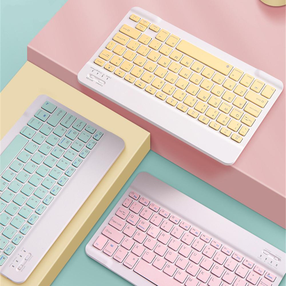 Teclado de bluetooth 78 teclas colorido mini teclado sem fio bluetooth silencioso confortável botão para ipad android samsung tablet