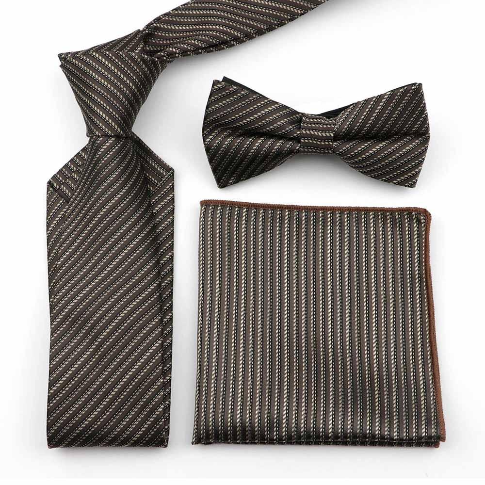 Striped Plaid Dot Paisley 100% Polyester 7cm Necktie Set Men Business Office Suit Formal Nice Tie Handkerchief Butterfly BowTie