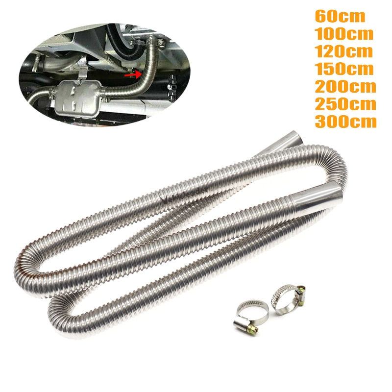 60-300cm Air Parking Heater Stainless Steel Exhaust Pipe Tube Gas Vent Fit Air Diesels Parking Tank