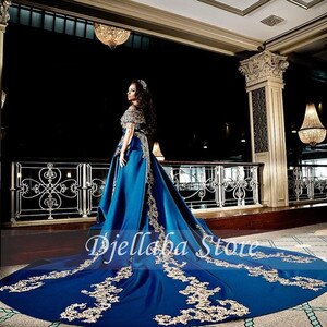 Moroccan Caftan Evening Dress Appliques Lace Cap Sleeve Royal Blue A-line Satin Arabic Prom Gowns Party Dress
