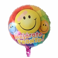 10pcs 18inch Spanish Mejorate Pronto Foil Balloons Smile Face Healthy Body Air Globos Birthday Party
