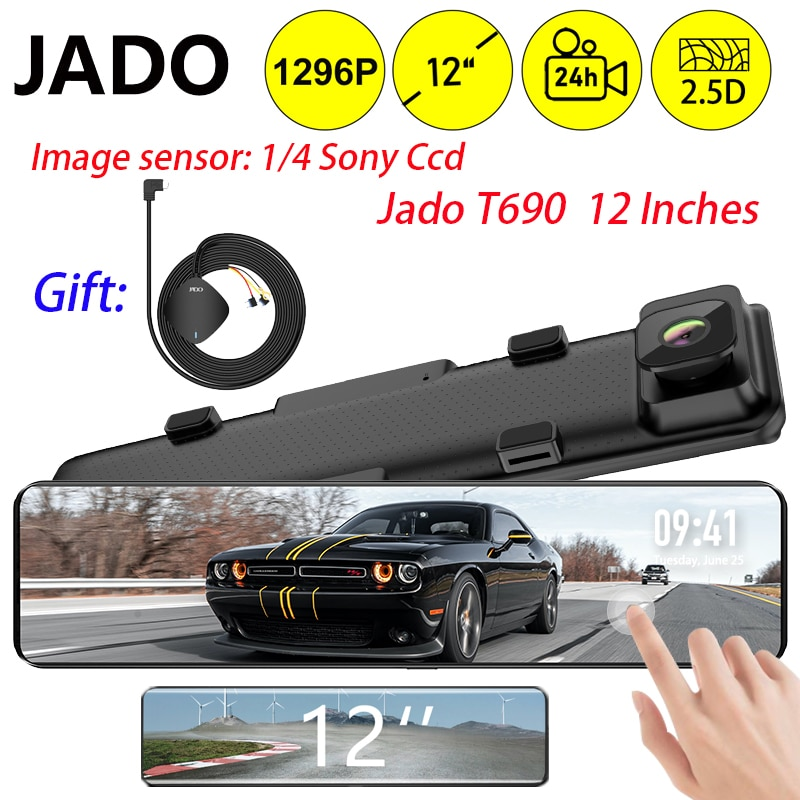 JADO 12 Inches Touch Screen Rearview Mirror Dash Cam 1080P Car DVR Stream Media Dash Cameras Front And Rear Car Camera Recorder