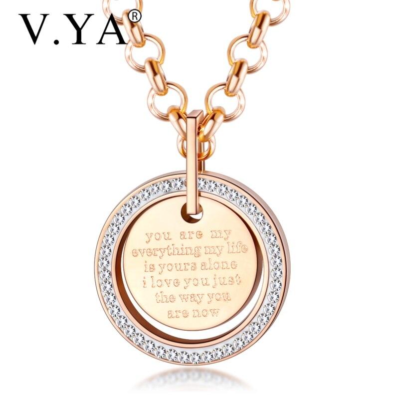 V. YA de acero inoxidable brillante pequeño pavé de cristal círculo redondo collares impresos con las palabras románticas de amor para las mujeres presentes
