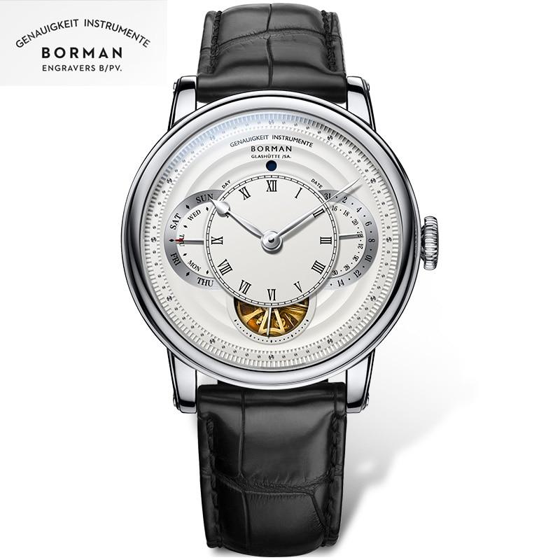 BORMAN men automatic watches luxury brand mechanical self wind wristwatch leather band dress watch r