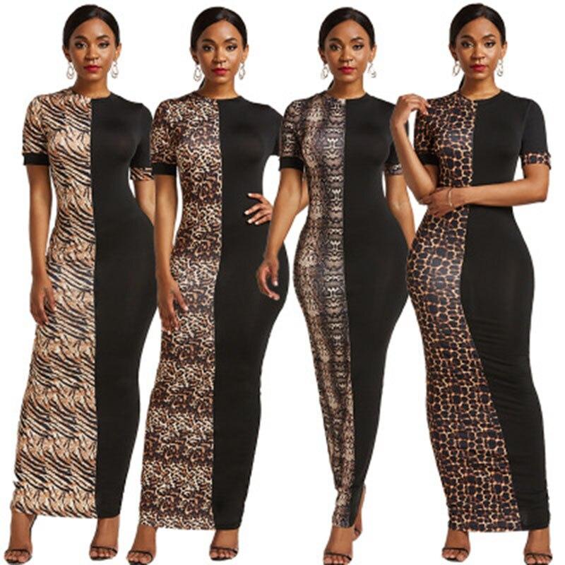 African Dashiki Fashion Short Sleeve Slim Dress Lady Fashion Digital Print Leopard Print Colorblock Simple Dress S-5XL