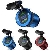 quick charge 3 0 dual usb charger waterproof socket aluminum power outlet fast charge with led voltmeter for 12v 24v car boat m