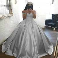 silver ball gown prom dresses with flowers vintage off shoulders puffy evening dress corset back long formal party gowns 2019