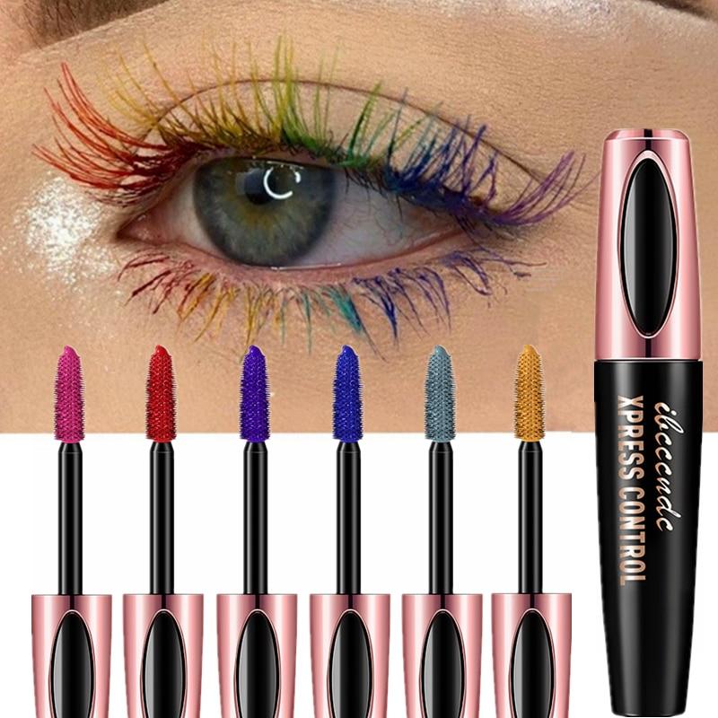 Colorful 4D Mascara Waterproof Lasting Thick Curling Blue Yellow Black Silk Fiber Lash Mascara Eyelash Thicken Color Eyes Makeup