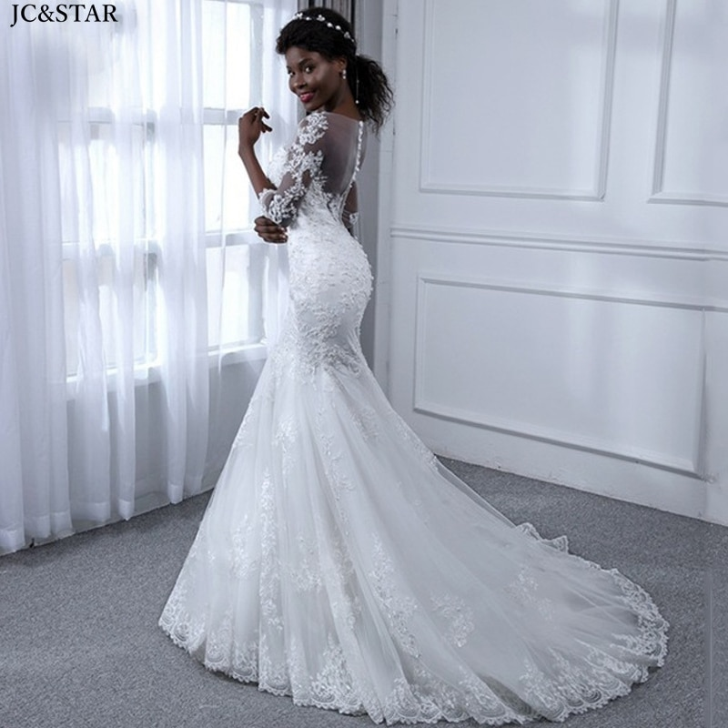Vestidos de boda africanos para las mujeres nuevo encaje media manga blanco...