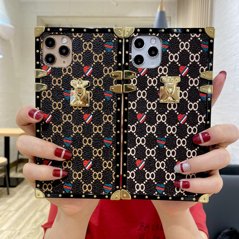 Fashion Square Geometric Leather Case For iphone 12Pro Case 11 X 6 7 8Plus XR Xs Max Luxury Square Geometric Vintage Phone Cover