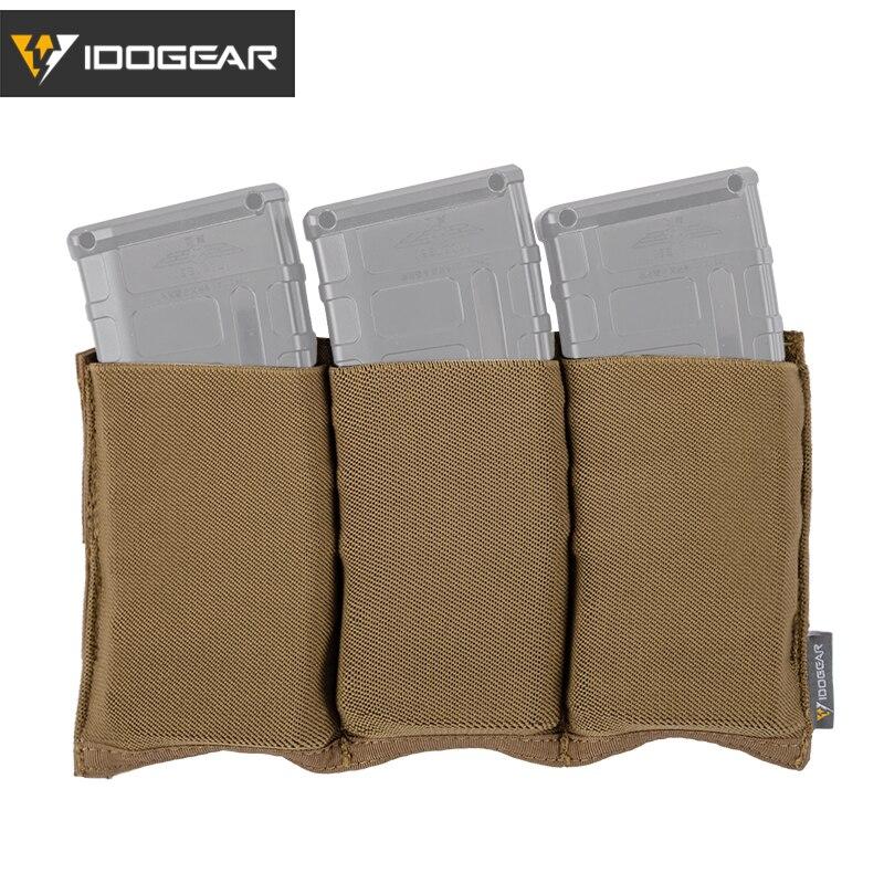 Idogear tático 5.56 compartimento bolsa de tração rápida molle mag bolsa transportadora triplo aberto superior 3555