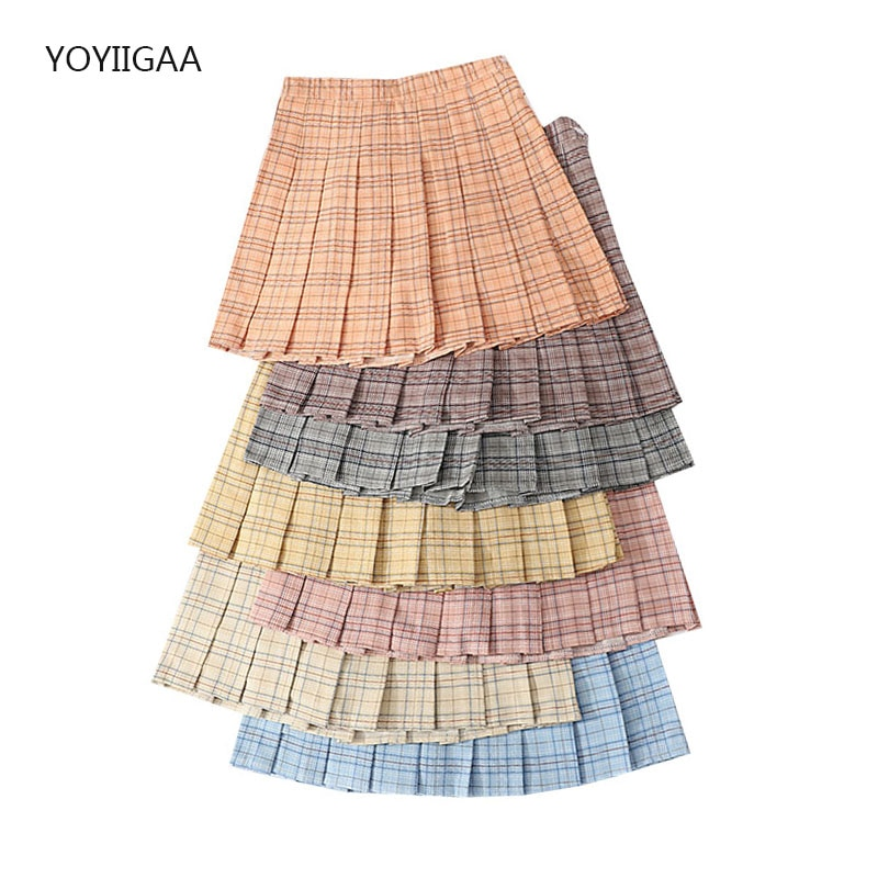 Summer Women's Skirt High Waist A-Line Woman Pleated Skirts Preppy Style Cute Female Plaid Mini Skirts Harajuku Lady Short Skirt
