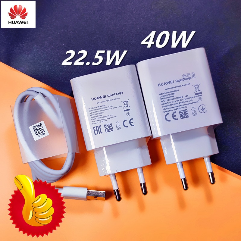 Original HUAWEI Fast Charger 40W 22.5W Supercharge Type C Cable For HUAWEI P30 P40 P10 P20 Pro lite Mate 9 10 Pro Mate 20 V20