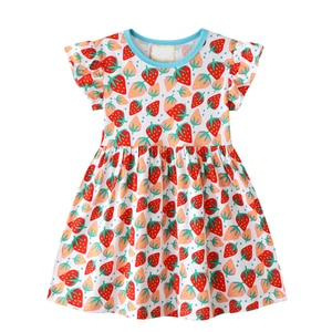 2020 Children's Casual Holiday Round Neck Red Strawberry Print Elegant Casual Little Baby Christmas Cotton Dress