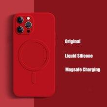 สำหรับ iPhone 12 Magsafing สแควร์ซิลิโคนเหลวสำหรับ iPhone 11 Pro Max 13 Mini X Xs Xr 7 8 Plus ไร้สายชาร์จ Coque
