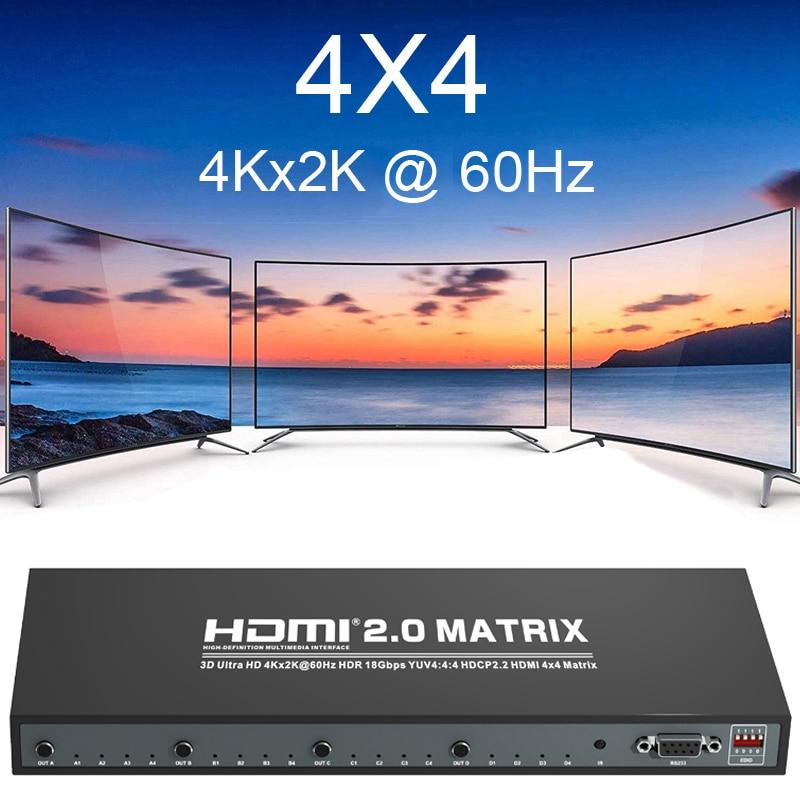 4k 60hz hdmi 2.0 4x4 hdmi divisor do interruptor da matriz 4 em 4 para fora 1080p conversor de vídeo rs232 edid 3d hdr yuv 444 hdcp dvd pc à tevê