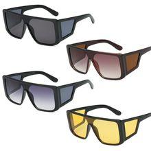 New New Square Sunglasses Unique Flat Top Night Vision Personality Party Unisex Women Men UV400 Bran
