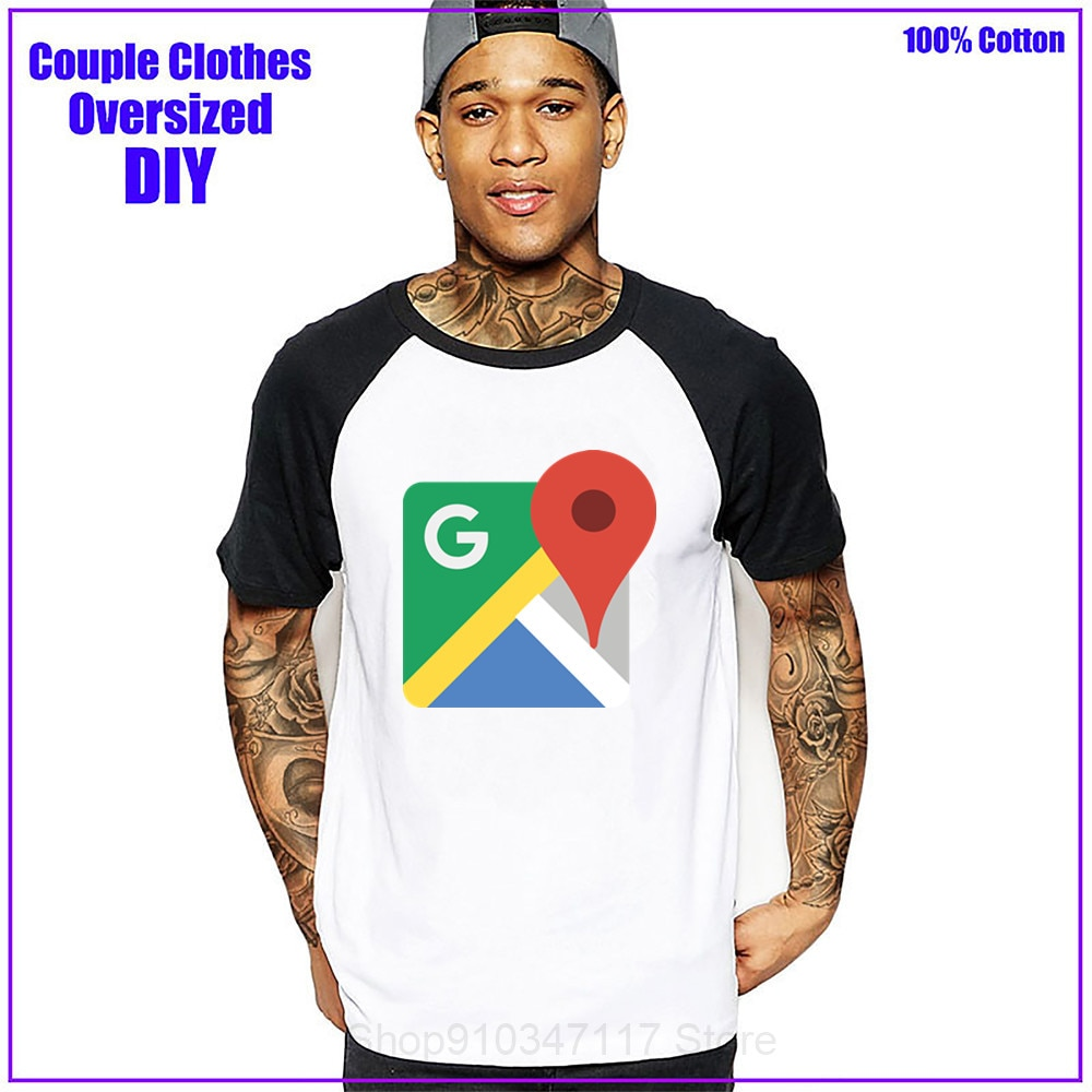 Google maps logo Men t shirt t-shirt tshirt hombre clothing dropshipping camiseta masculina tees tops couple clothes cotton