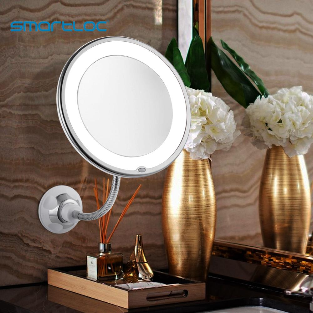 bathroom mirror antique red copper double side make up mirror dressing room round magnifying cosmetic mirror wall mounted nba631 smartloc Extendable  LED 10X Magnifying Bathroom Wall Mounted  Mirror Mural Light Vanity Makeup Bathroom Mirror Smart Mirror