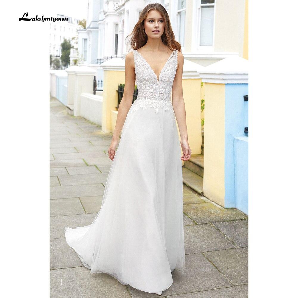 Vestido de encaje con cuello de pico profundo para boda, traje con...