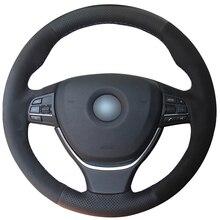 Negro de gamuza de cuero DIY protector para volante de coche para BMW F10 2014 520i 528i 2013 2014 730Li 740Li 750Li