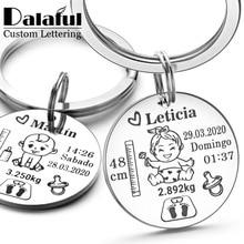 Portachiavi personalizzato adorabile delle ragazze dei neonati nome altezza del peso di nascita per il neonato commemora il portachiavi del regalo del papà della nuova mamma P026_C