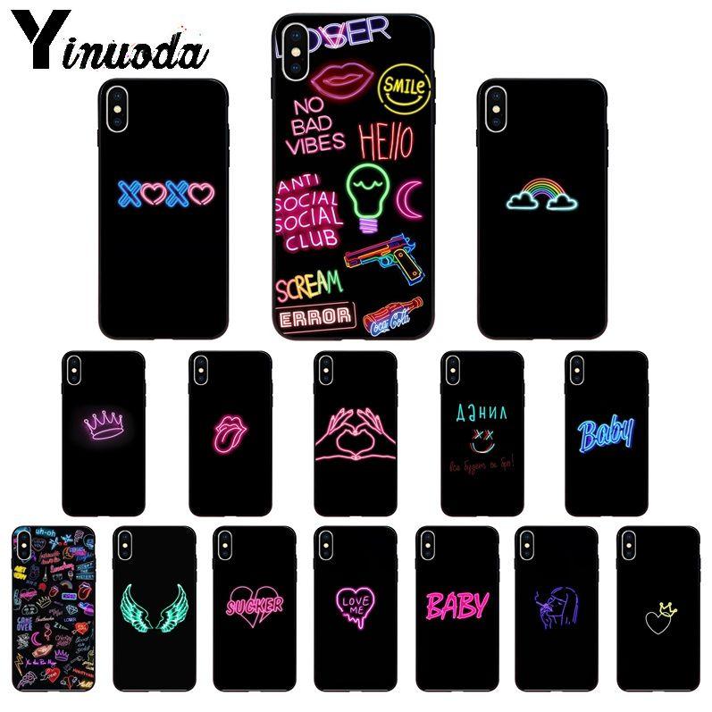 Yinuoda negro fondo de neón TPU suave teléfono funda para iPhone X XS MAX 6 6S 7 7plus 8 8Plus 5 5S XR 11 11pro max