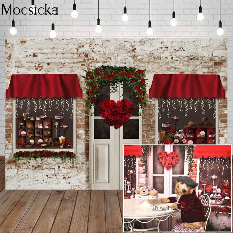 Mocsicka Valentine's Day Rose Flower Shop Backdrop Dessert Shop Vintage Brick Wall Photography Background Photo Decorative Props