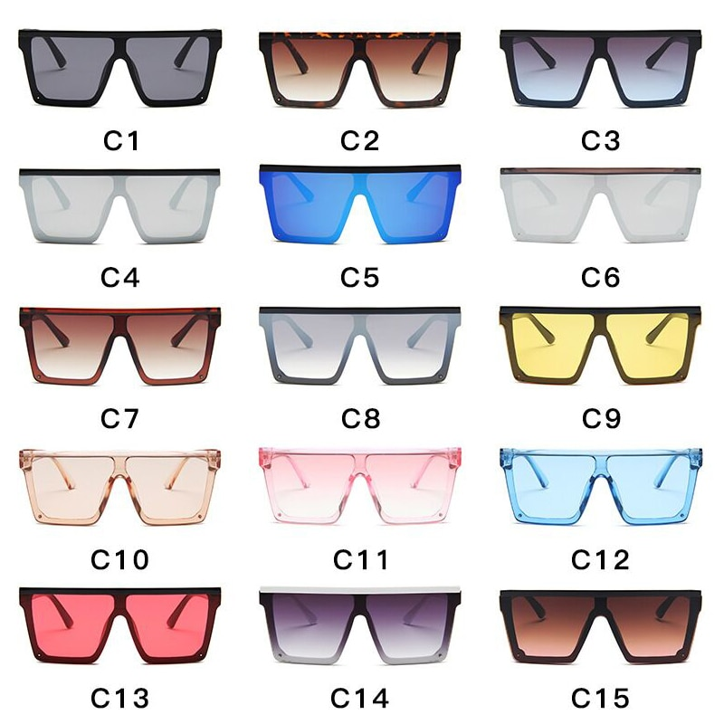 New Black Square Sunglasses Women Big Frame Fashion Retro Mirror Sun Glasses Female Brand Vintage Lady Lunette De Soleil Femme