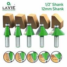 "LAVIE 1pc 12MM 1/2 ""vástago enrutador broca 11,25 15 22,5 30 45 grados cortador de fresado para máquina de madera MC03232"
