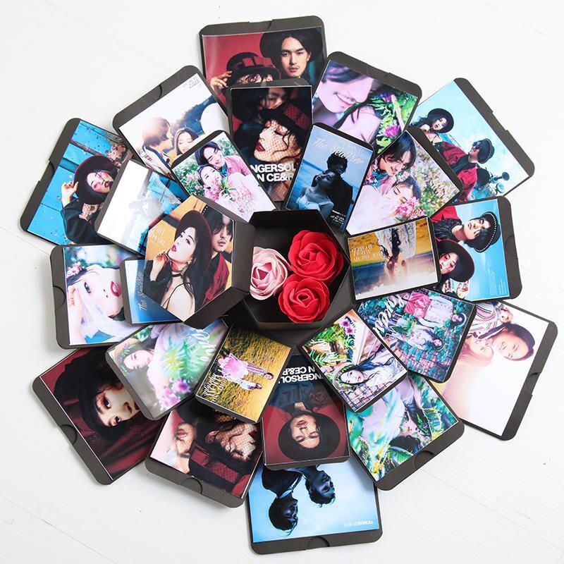 Caja de explosión de amor DIY, regalo del Día de San Valentín, álbum de fotos, memoria feliz, caja de regalo de aniversario cumpleaños multicapa, artesanía de San Valentín