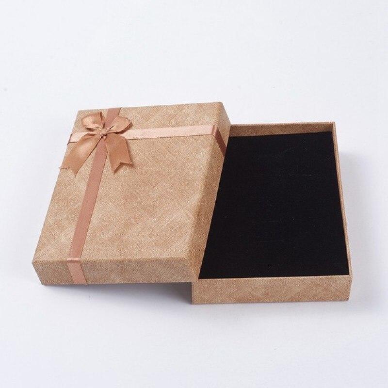 24 Uds. 9,35x6,3x3 cm cajas de cartón rectangulares para regalo de joyería con esponja dentro del organizador de joyería F80