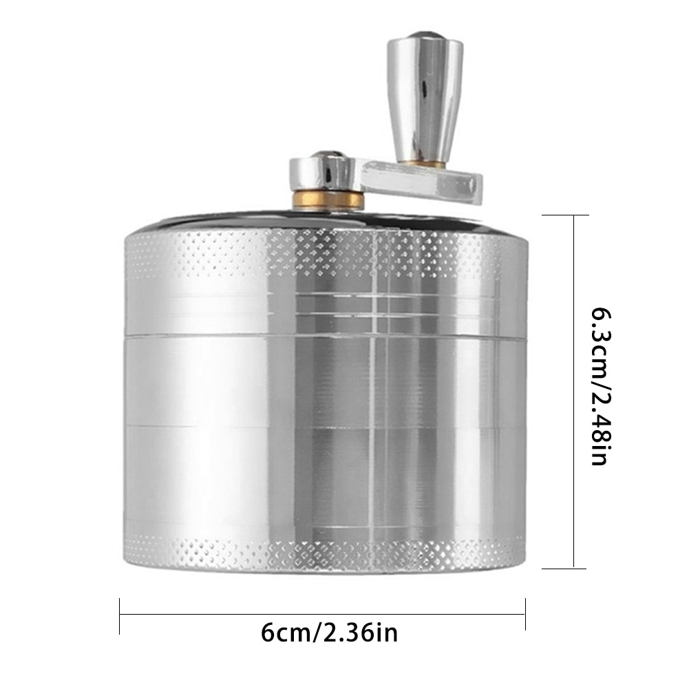 Manual Grinder Pepper Hand Mill Grinder With Crank Handle Pollen Grinder Spices Crusher For Herb Coffee Bean Salt Pepper Silver  - buy with discount