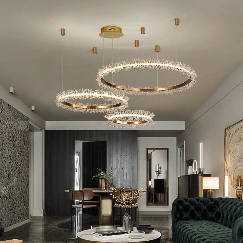 أضواء الثريا الكريستال الحديثة لغرفة المعيشة Led الثريات الذهبية ديكور المنزل مصابيح من الكريستال