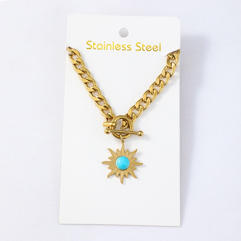 Statement Golden Sun Flower Pendant Chain Necklace for Women 14K Stainless Steel Metal Collar Necklace Jewelry Collier Femme