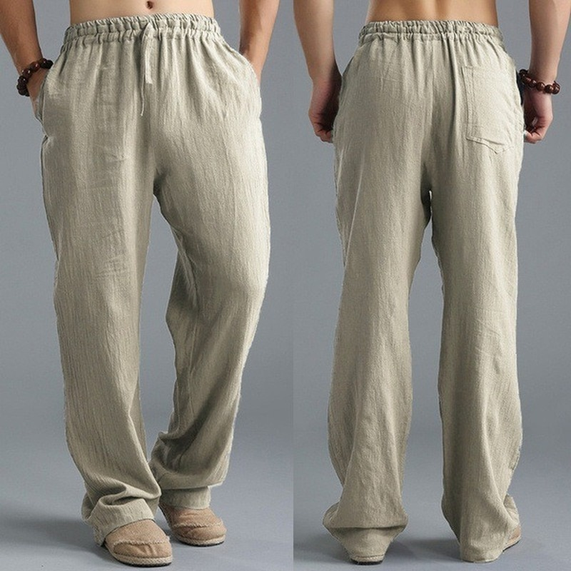 Top Selling Product In 2020 New Mens Trousers Washed Cotton Loose Pants Breathable Casual Sweatpants Plus Size Clothing