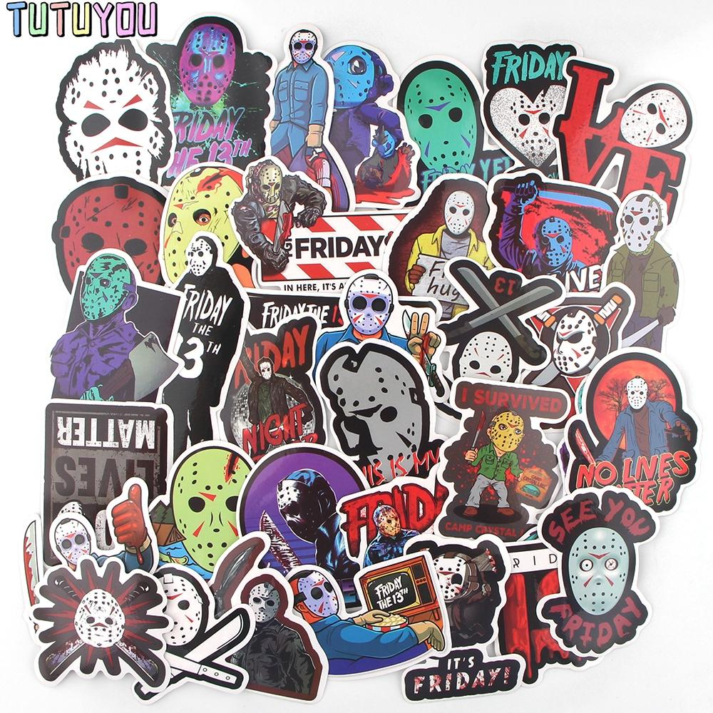 PC2111 36pcs/set Horror Movie Friday The 13th Scrapbooking Stickers Decal For Guitar Laptop Luggage Car Fridge Graffiti Sticker