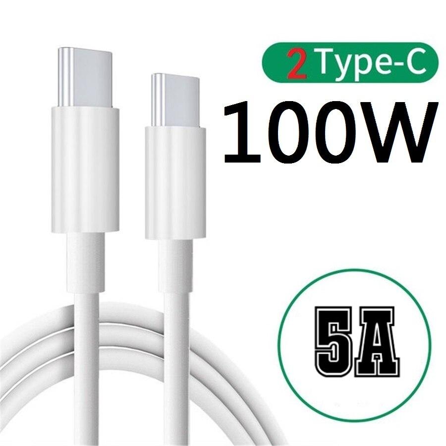 10PCS 100W 5A tipo c a tipo c, Cable USB de 1m...