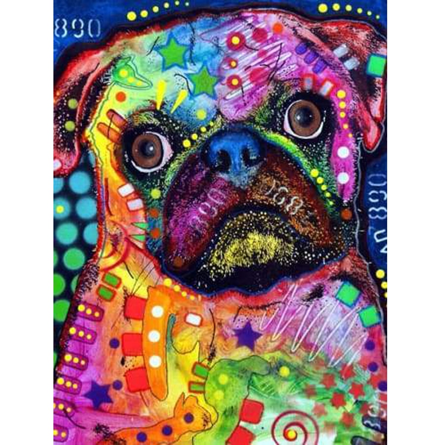 5D Needlework Animal Presente Needlework Diy Strass Ponto Cruz Diamante Mosaico Bordado Cão Pug Decoração Europeia Casa AA1195