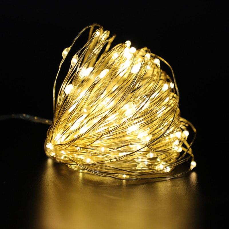 Guirlande lumineuse Led avec 30 50 100 fils de cuivre avec piles USB/décoration de noël, fête de mariage, nouvel an, lumières féeriques