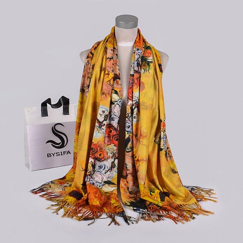 [BYSIFA] Ladies Yellow Long Scarves Wraps New Luxury Warm Winter Neck Scarves Shawls Elegant Rose Women Tassel Scarf Cachecol