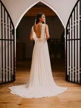 Déesse grecque mousseline De soie robes De mariée dos ouvert col en V plis balayage Trail Vestido De Noiva robes De mariée élégant Simple 2020