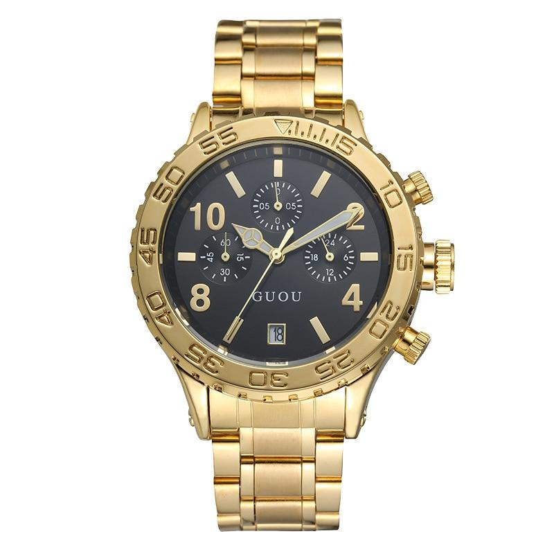 New Big Dial Steel Band Man Watch Women Quartz Watches Men's and Women's Watches Luxury Brand Gold Six-pin Calendar Clock 2021 enlarge