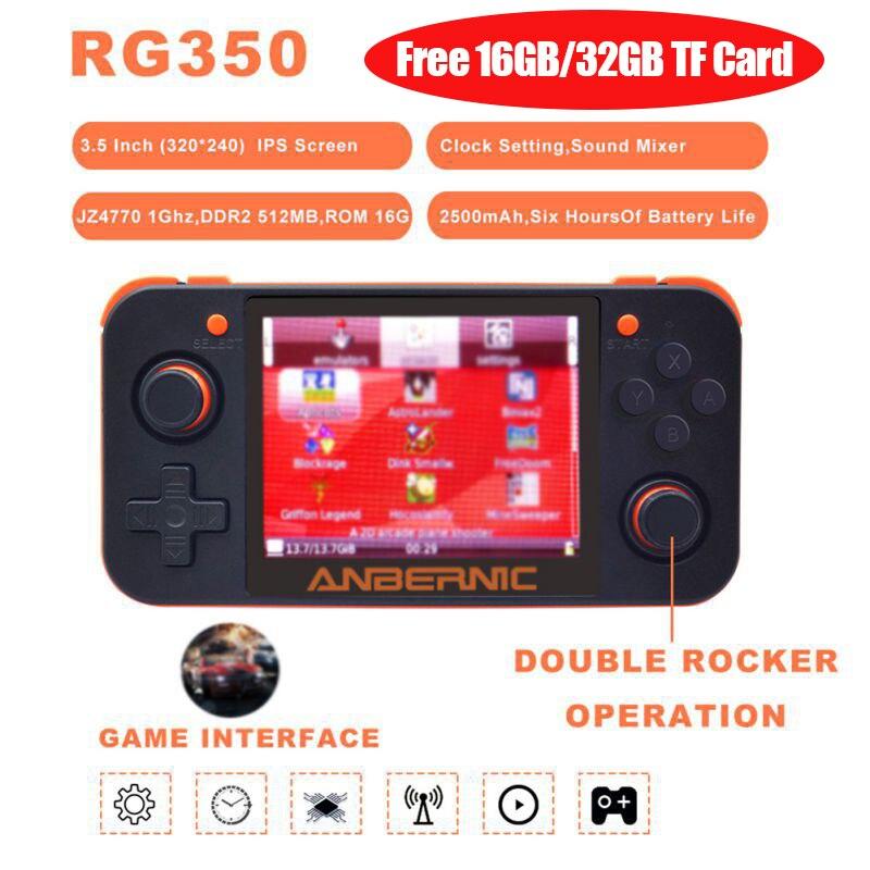 ANBERNIC-وحدة ألعاب ريترو, لعبة ريترو RG350 لعبة فيديو وحدة تحكم محمولة باليد 64 بت 3.5 بوصة شاشة IPS حجم 16 جيجا بايت 32 جيجا بايت TF 2500 لعبة أصلية