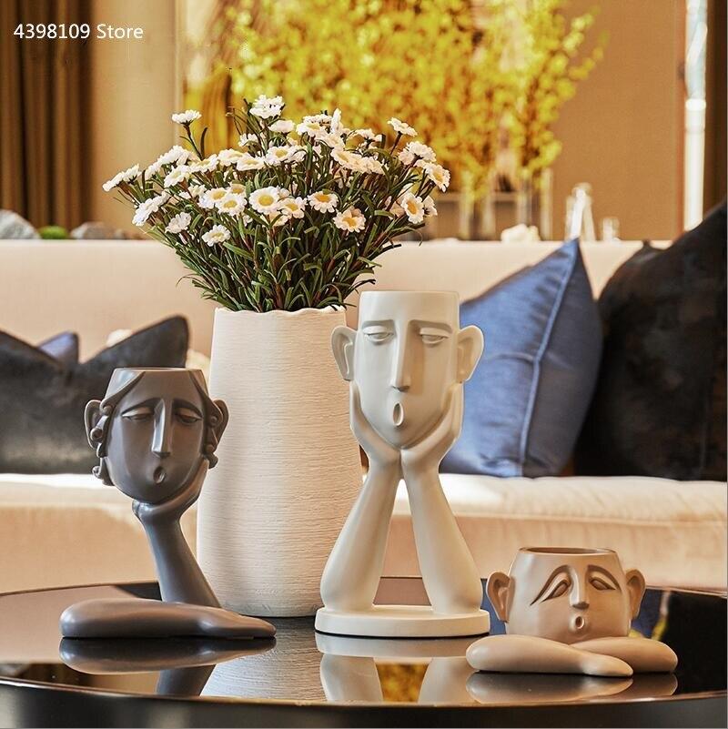 Nórdico vaso, escultura, decoração de casa vaso de resina, criativo abstrato rosto vaso, moderno e minimalista vaso, sala estar estátua