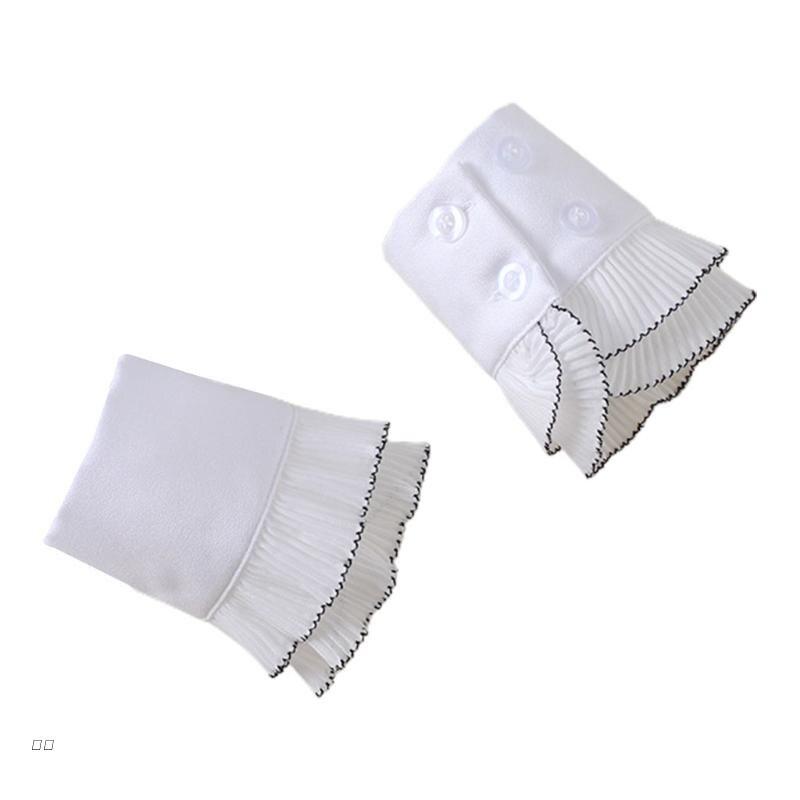 D0UD корейские зимние женские декоративные Двухслойные плиссированные белые гусеничные манжеты с черным краем свитер оборки нарукавники