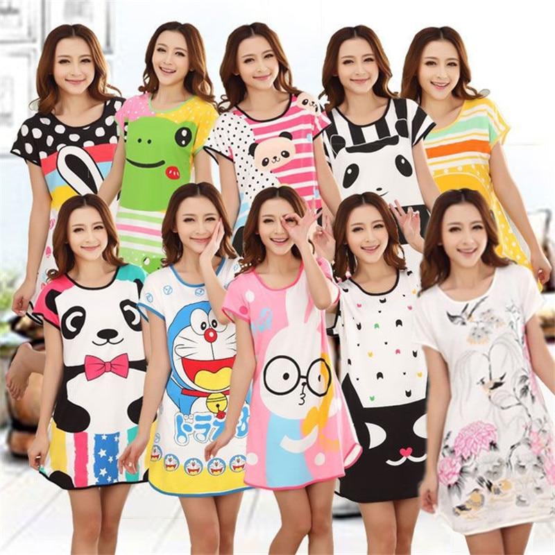 26 styles Women's Cute Cartoon printing Nightgown Sleepwear Short Sleeve nightdress Sleepshirts New Summer Dresses home clothing