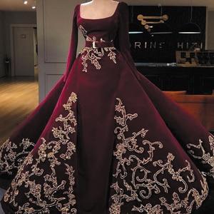 SuperKimJo Velvet Burgundy Prom Dresses Ball Gown Robe De Soiree Lace Applique Boat Neck Muslim Prom Gown Vestidos De Gala