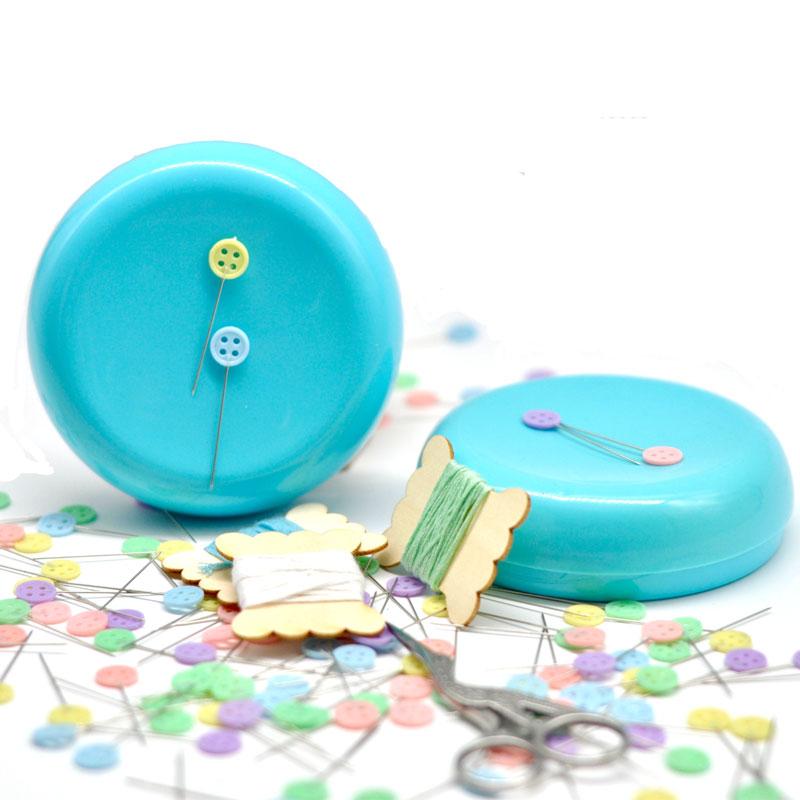 1Pcs Portable Round Magnetic Sewing Pincushion Needle Holder Cushion Organizer Storage Box Needlework DIY Craft With Pins